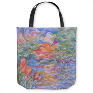 Unique Shoulder Bag Tote Bags | Gerry Segismundo - Sunset Tulips | surreal pattern flower nature geometric