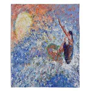 Decorative Fleece Throw Blankets | Gerry Segismundo - Touch the Sun | surfer surfing abstract impressionism