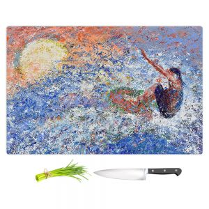 Artistic Kitchen Bar Cutting Boards | Gerry Segismundo - Touch the Sun | surfer surfing abstract impressionism