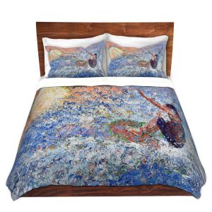 Artistic Duvet Covers and Shams Bedding | Gerry Segismundo - Touch the Sun | surfer surfing abstract impressionism