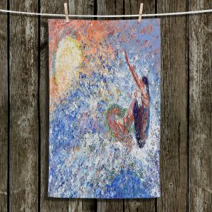 Unique Hanging Tea Towels | Gerry Segismundo - Touch the Sun | surfer surfing abstract impressionism