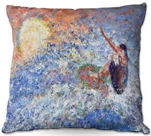 Decorative Outdoor Patio Pillow Cushion | Gerry Segismundo - Touch the Sun | surfer surfing abstract impressionism