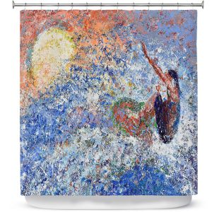 Premium Shower Curtains | Gerry Segismundo - Touch the Sun | surfer surfing abstract impressionism