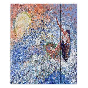 Decorative Wood Plank Wall Art   Gerry Segismundo - Touch the Sun   surfer surfing abstract impressionism