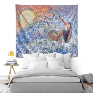 Artistic Wall Tapestry | Gerry Segismundo - Touch the Sun | surfer surfing abstract impressionism