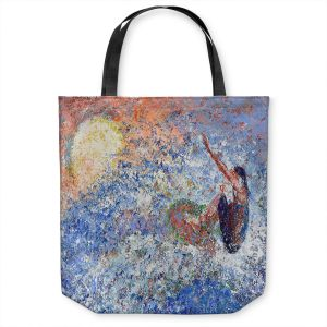 Unique Shoulder Bag Tote Bags | Gerry Segismundo - Touch the Sun | surfer surfing abstract impressionism