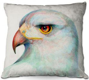 Decorative Outdoor Patio Pillow Cushion | Gerry Segismundo - Untamed Look | bird nature crosshatch profile