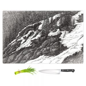 Artistic Kitchen Bar Cutting Boards | Gerry Segismundo - Wyoming 1 | landscape crosshatch snow forest mountain