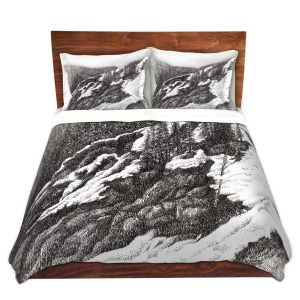 Artistic Duvet Covers and Shams Bedding | Gerry Segismundo - Wyoming 1 | landscape crosshatch snow forest mountain