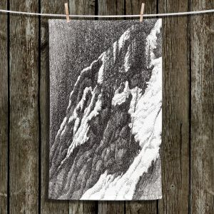 Unique Hanging Tea Towels | Gerry Segismundo - Wyoming 1 | landscape crosshatch snow forest mountain