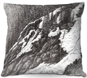 Decorative Outdoor Patio Pillow Cushion | Gerry Segismundo - Wyoming 1 | landscape crosshatch snow forest mountain