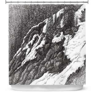 Premium Shower Curtains | Gerry Segismundo - Wyoming 1 | landscape crosshatch snow forest mountain