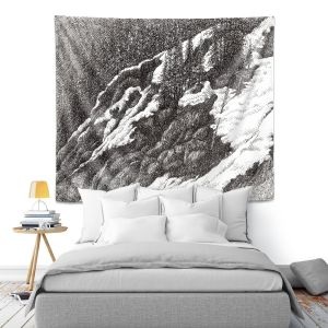 Artistic Wall Tapestry   Gerry Segismundo - Wyoming 1   landscape crosshatch snow forest mountain