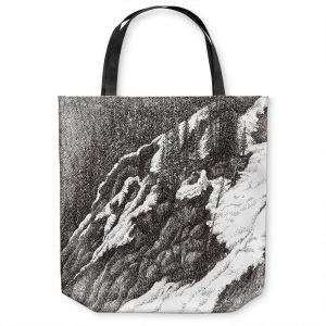 Unique Shoulder Bag Tote Bags | Gerry Segismundo - Wyoming 1 | landscape crosshatch snow forest mountain