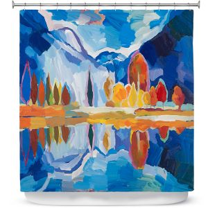 Premium Shower Curtains | Hooshang Khorasani - Autumn Reflection | landscape abstract painterly mountain lake