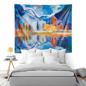 Artistic Wall Tapestry | Hooshang Khorasani - Autumn Reflection | landscape abstract painterly mountain lake