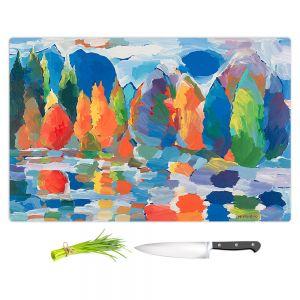 Artistic Kitchen Bar Cutting Boards | Hooshang Khorasani - Autumn Resonance | landscape forest reflection abstract painterly