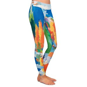 Casual Comfortable Leggings | Hooshang Khorasani - Autumn Resonance | landscape forest reflection abstract painterly