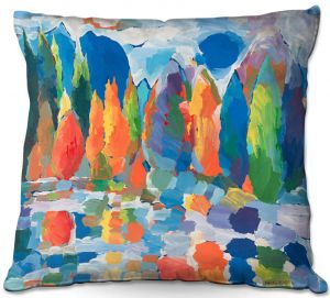 Decorative Outdoor Patio Pillow Cushion | Hooshang Khorasani - Autumn Resonance | landscape forest reflection abstract painterly
