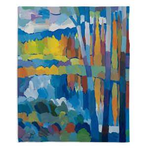 Decorative Fleece Throw Blankets   Hooshang Khorasani - Beside Still Waters   landscape forest abstract painterly
