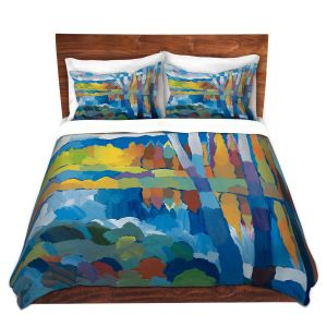 Artistic Duvet Covers and Shams Bedding | Hooshang Khorasani - Beside Still Waters | landscape forest abstract painterly