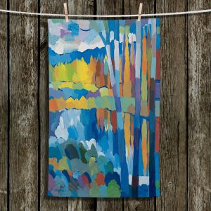 Unique Bathroom Towels | Hooshang Khorasani - Beside Still Waters | landscape forest abstract painterly