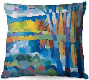 Decorative Outdoor Patio Pillow Cushion | Hooshang Khorasani - Beside Still Waters | landscape forest abstract painterly