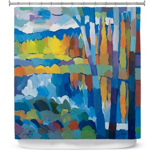 Premium Shower Curtains | Hooshang Khorasani - Beside Still Waters | landscape forest abstract painterly