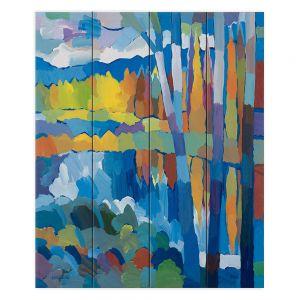 Decorative Wood Plank Wall Art   Hooshang Khorasani - Beside Still Waters   landscape forest abstract painterly
