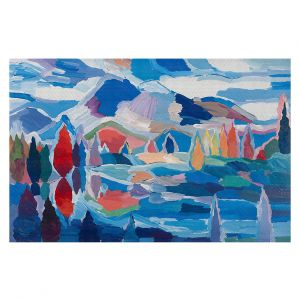 Decorative Floor Covering Mats | Hooshang Khorasani - Blue View | landscape forest abstract painterly