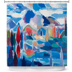 Premium Shower Curtains | Hooshang Khorasani - Blue View | landscape forest abstract painterly