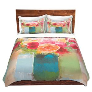 Artistic Duvet Covers and Shams Bedding | Hooshang Khorasani - Bouquet of Love | still life painting flowers vase