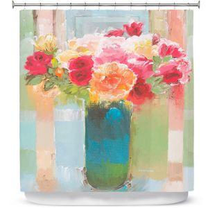 Premium Shower Curtains | Hooshang Khorasani - Bouquet of Love | still life painting flowers vase