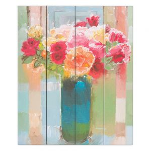 Decorative Wood Plank Wall Art | Hooshang Khorasani - Bouquet of Love | still life painting flowers vase