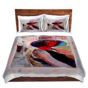 Artistic Duvet Covers and Shams Bedding | Hooshang Khorasani - Cafe View | Abstract Portrait People