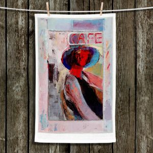 Unique Hanging Tea Towels | Hooshang Khorasani - Cafe View | Abstract Portrait People
