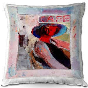 Throw Pillows Decorative Artistic | Hooshang Khorasani - Cafe View | Abstract Portrait People