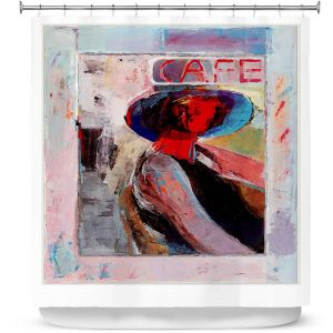 Premium Shower Curtains | Hooshang Khorasani - Cafe View | Abstract Portrait People