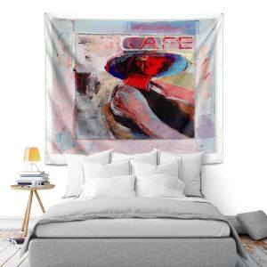 Artistic Wall Tapestry   Hooshang Khorasani - Cafe View   Abstract Portrait People