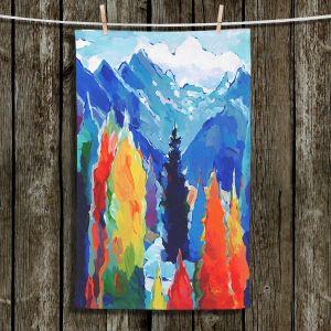 Unique Hanging Tea Towels   Hooshang Khorasani - Cascade of Colors   Trees Mountains Nature Forest