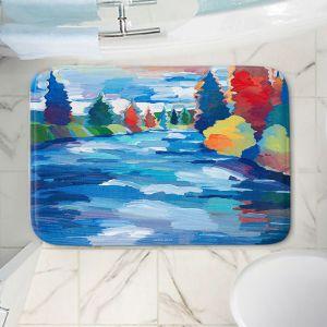 Decorative Bathroom Mats | Hooshang Khorasani - Color and Current | landscape brush strokes forest river