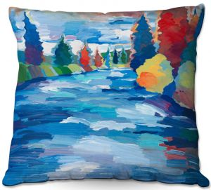 Throw Pillows Decorative Artistic | Hooshang Khorasani - Color and Current | landscape brush strokes forest river