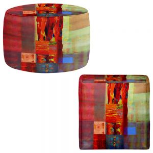 Round and Square Ottoman Foot Stools | Hooshang Khorasani - Color Storm Abstraction III