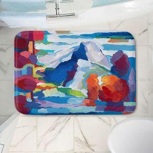 Decorative Bathroom Mats | Hooshang Khorasani - Double Take | landscape abstract painterly mountain lake