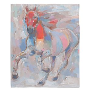 Decorative Fleece Throw Blankets | Hooshang Khorasani - Equine Elegance II Horses