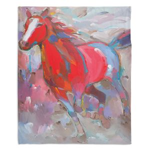 Decorative Fleece Throw Blankets | Hooshang Khorasani - Equine Exuberance IV Horse
