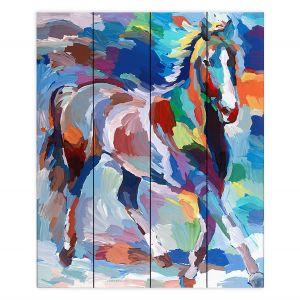 Decorative Wood Plank Wall Art | Hooshang Khorasani - Equine Grace | Abstract Animals Horses