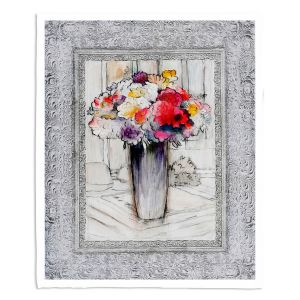 Decorative Fleece Throw Blankets | Hooshang Khorasani - Framed Bouquet 1 | Still Life Flowers Nature