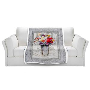 Artistic Sherpa Pile Blankets | Hooshang Khorasani - Framed Bouquet 1 | Still Life Flowers Nature