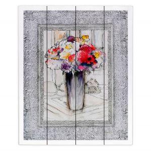 Decorative Wood Plank Wall Art | Hooshang Khorasani - Framed Bouquet 1 | Still Life Flowers Nature